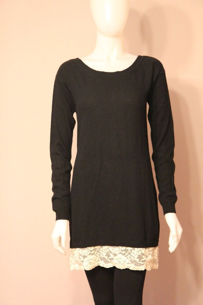 6eef8cbc4 Details about Northland Wool Cashmere Angora Black   Lace Sweater M L Medium  Large