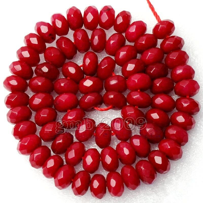 Red Ruby Beads: Beautiful 5x8mm Natural Faceted Red Ruby Rondelle Gemstone