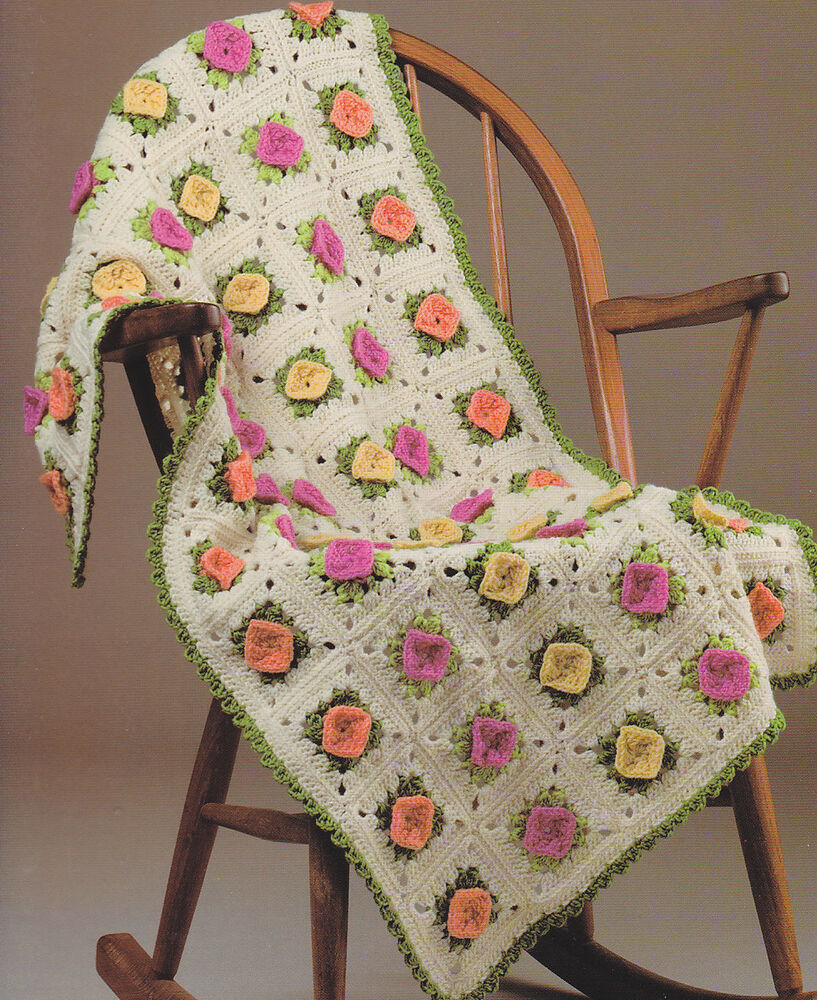 Free online crochet baby afghan patterns squareone for crochet pattern pretty rosebuds baby afghan free online bankloansurffo Image collections