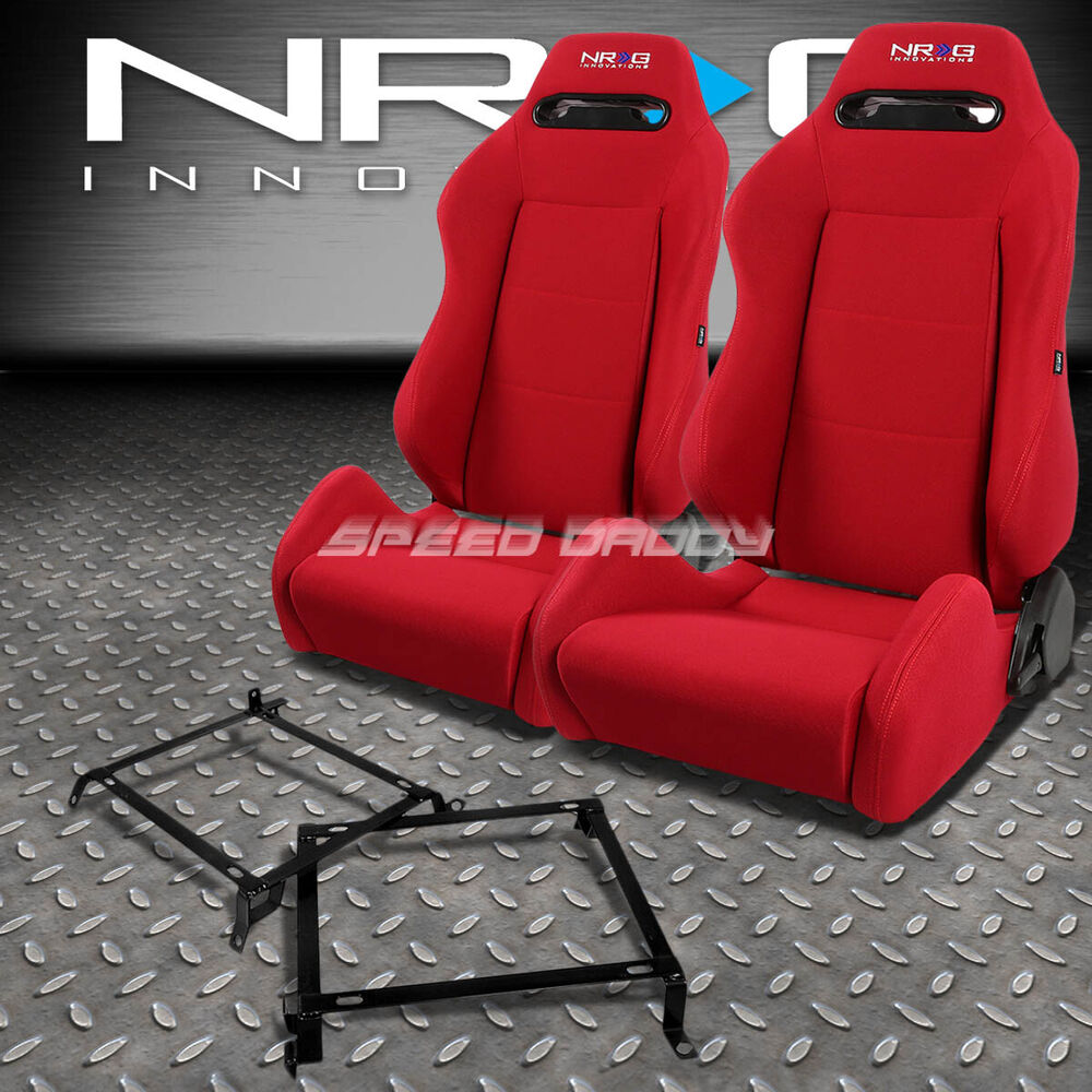 NRG TYPE-R RED RECLINABLE RACING SEATS+BRACKET FOR 88-91