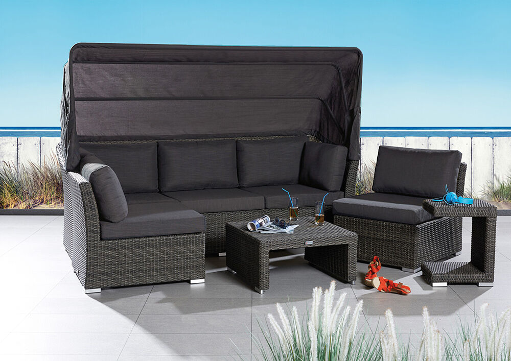 loungegruppe mit dach barcelona 5tlg polyrattan loungegarnitur gartenlounge ebay. Black Bedroom Furniture Sets. Home Design Ideas