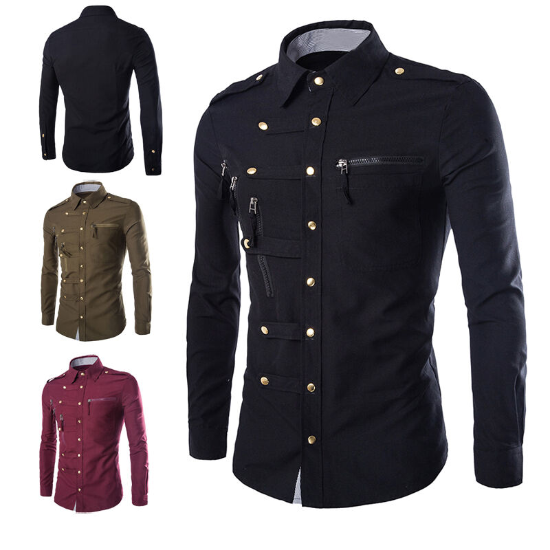 Fashion mens luxury stylish casual dress slim fit t shirt for Slim fit mens shirts casual
