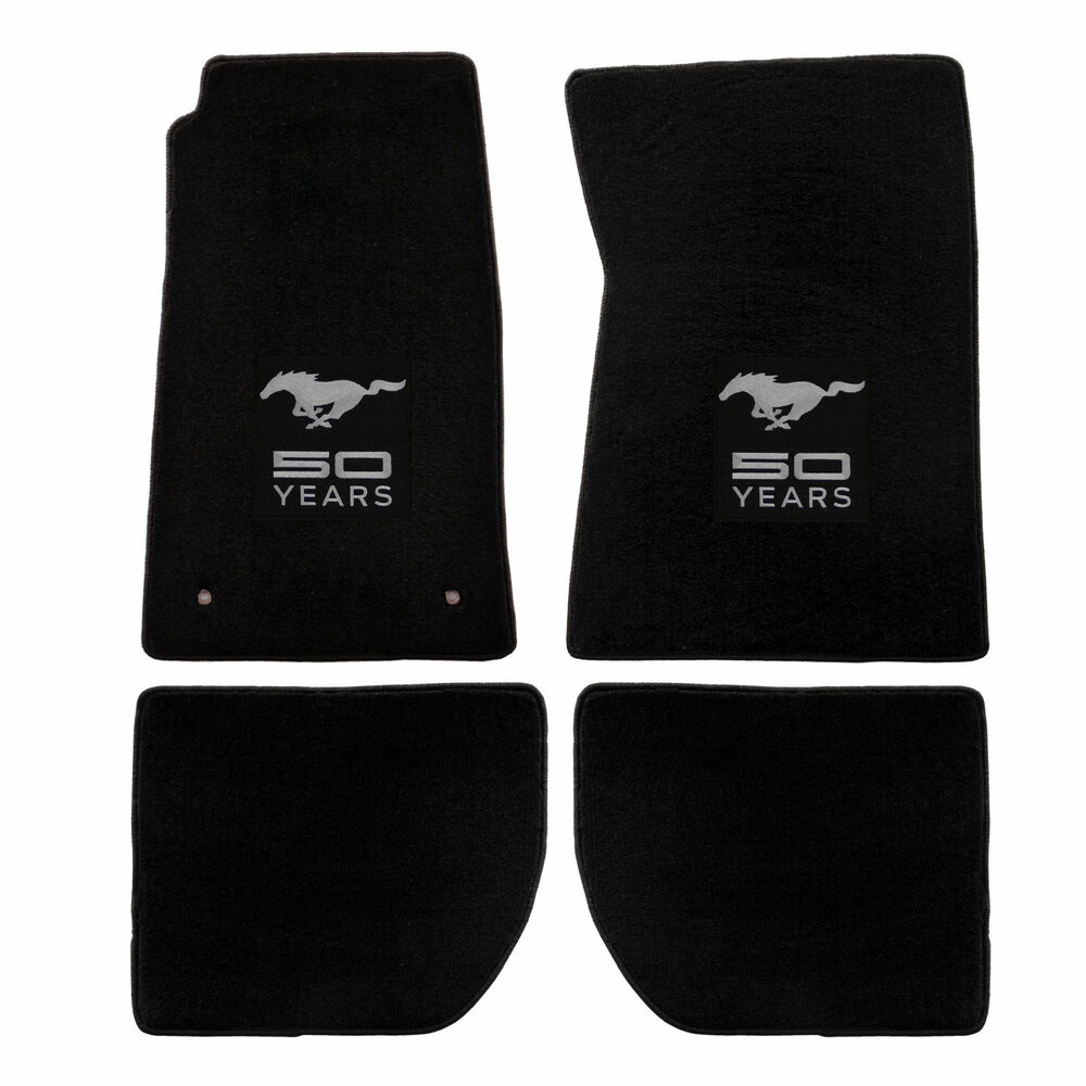 1965 1973 ford mustang coupe floor mats black w 50th for 1965 ford mustang floor mats
