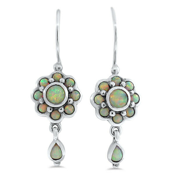 Vintage Style Earrings: ANTIQUE VICTORIAN STYLE LAB OPAL 925 STERLING SILVER