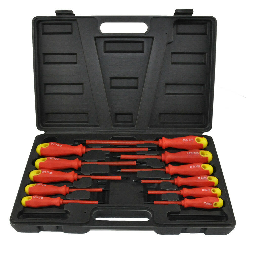 11pc insulated soft grip screwdriver set flat phillips case diy professional ebay. Black Bedroom Furniture Sets. Home Design Ideas