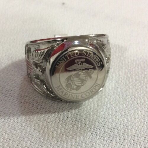 Men S Stainless Steel Marine Corps Armed Forces Ring Sz