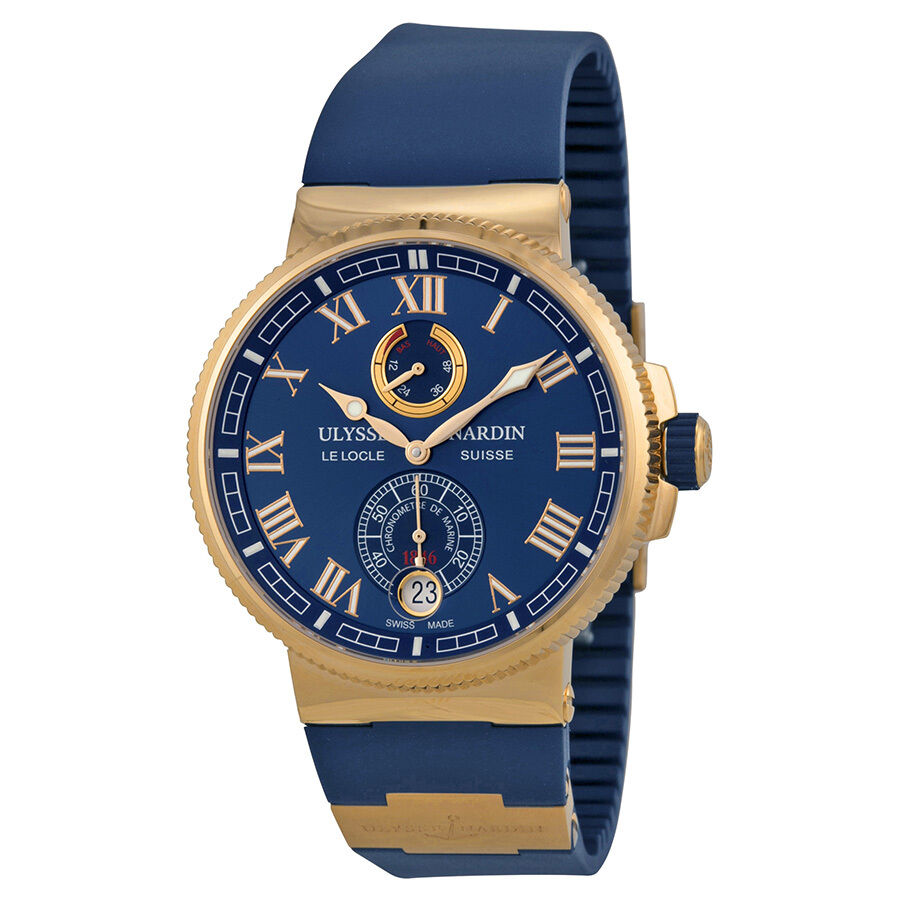 Ulysse nardin marine chronometer blue dial 18kt rose gold mens watch ebay for Marine watches