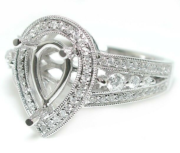 .5 CT Antique Style Pear Halo Split Shank W/ Rounds