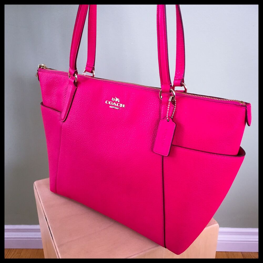 Coach Ava Tote Hot Pink Ruby Pebble Leather Gold F37216 Large Purse Diaper Bag 889532147052 Ebay