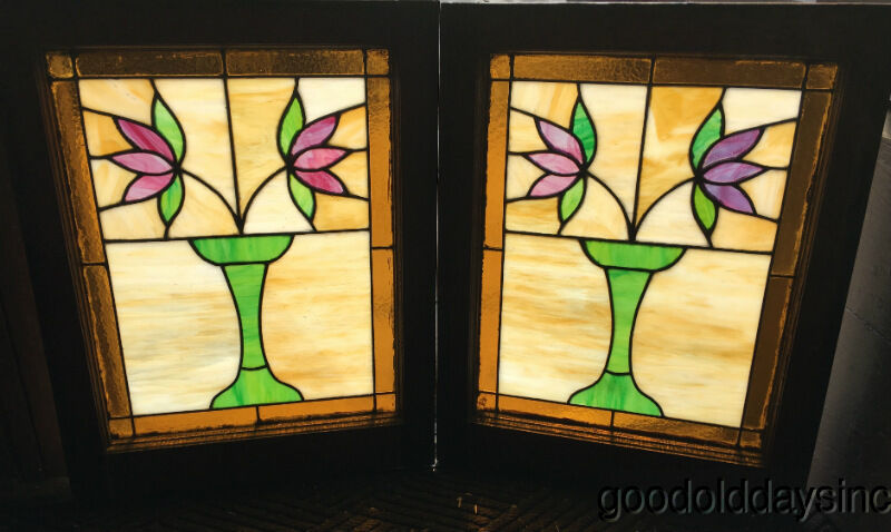 2 antique 1920s classic chicago bungalow stained leaded for 1920s window