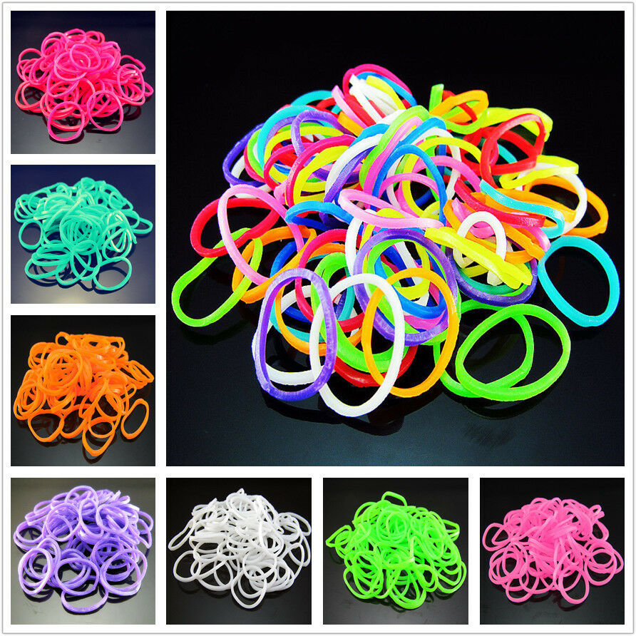 Free diy 600pcs rainbow rubber loom bands refill bracelet for Rubber band crafts without loom