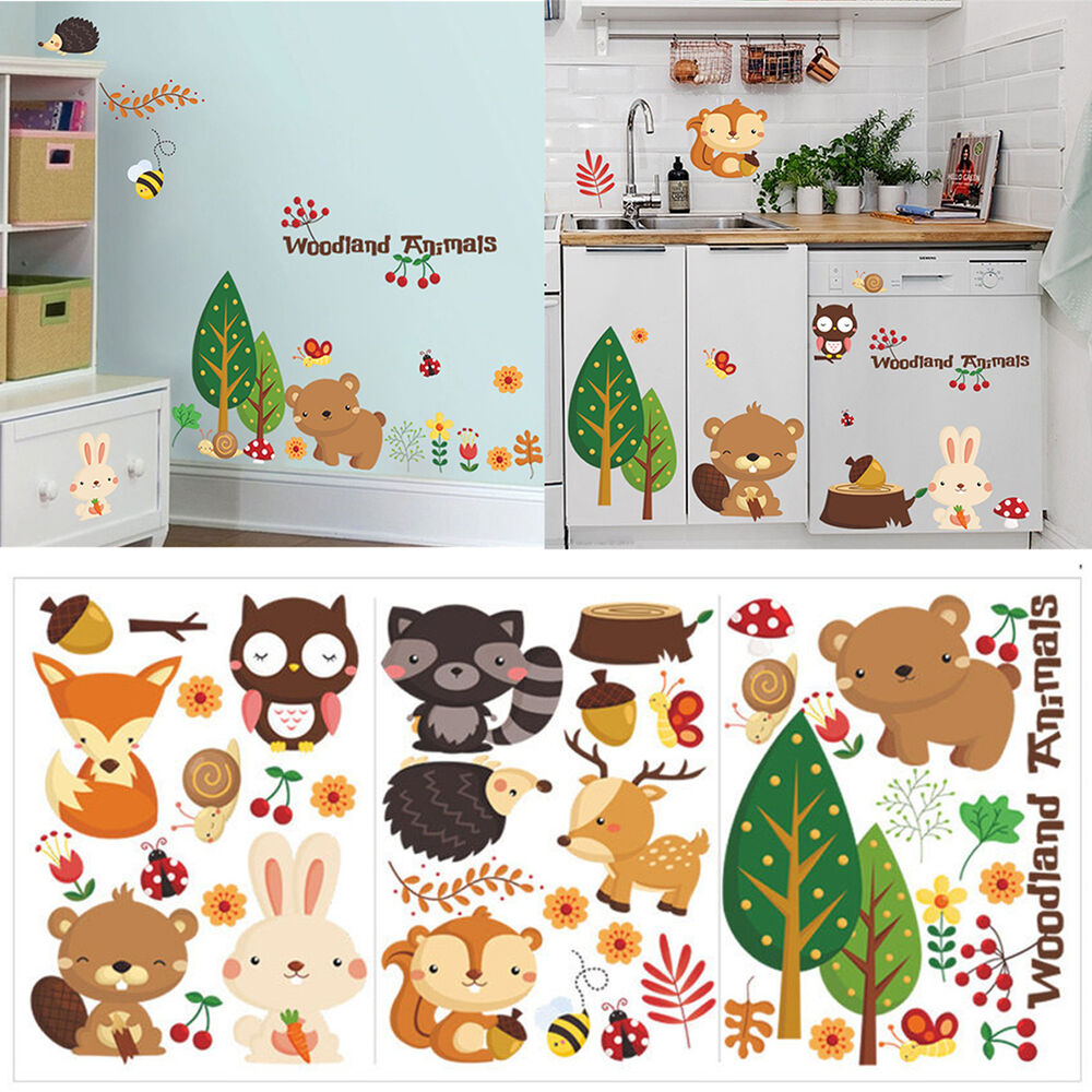 Removable animals vinyl wall stickers mural home decor for Mural kids room