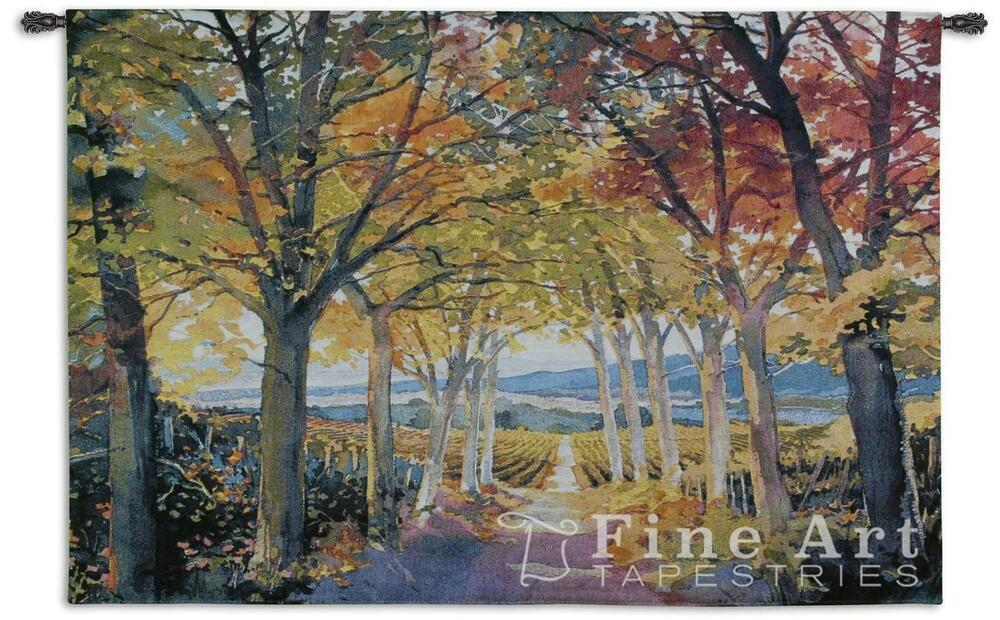 53x34 Autumn Path Fall Leaves Trees Tapestry Wall Hanging