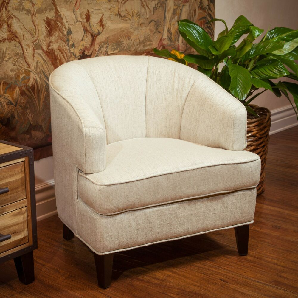Living room furniture beige fabric tub accent club chair for Ebay living room chairs