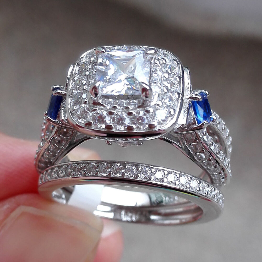 2ct princess blue sapphire 925 sterling silver engagement for Blue sapphire wedding ring set