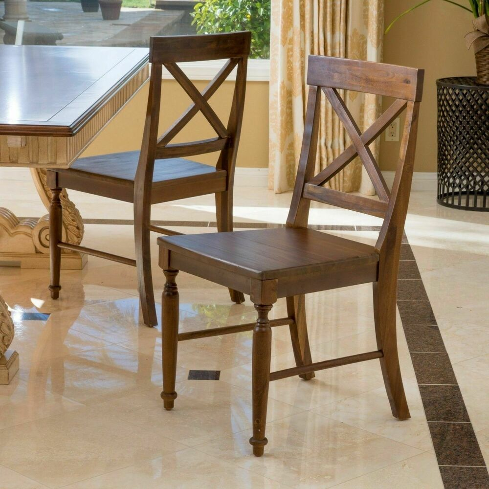 Set Of 2 Cottage Design Brown Wood Dining Chairs EBay