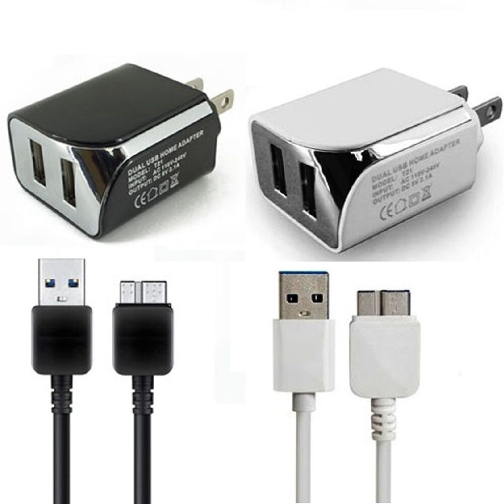 2 1 amp dual wall charger usb data cable for t mobile samsung galaxy note 3 ebay. Black Bedroom Furniture Sets. Home Design Ideas
