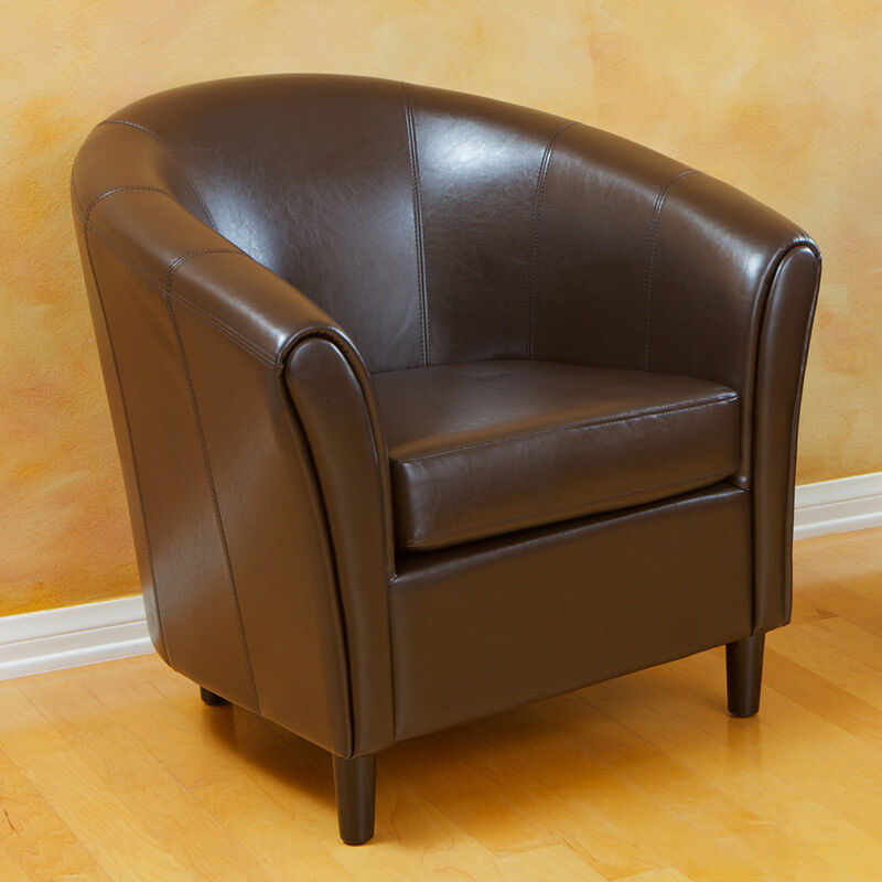 Elegant contemporary design brown leather tub barrel club for Modern leather club chair
