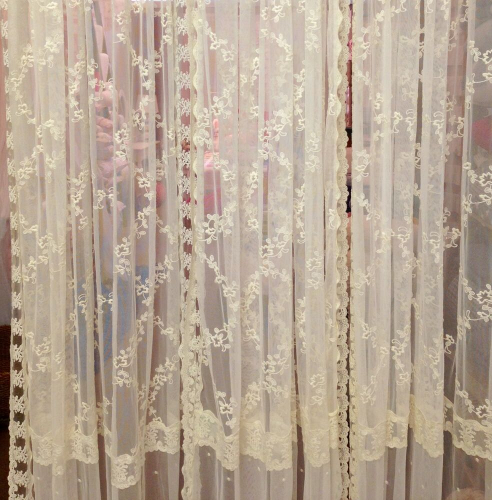 french country shabby chic curtains ivory lace 145cm wide