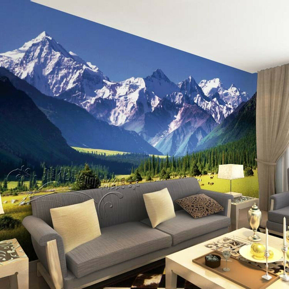 3d wallpaper bedroom mural modern snow mountain tv for Bedroom 3d wallpaper