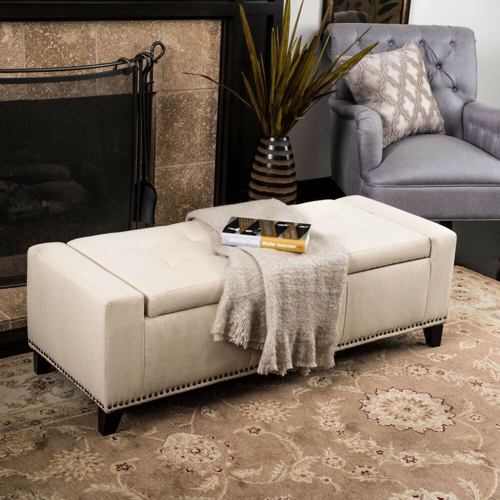 Contemporary Upholstered Tufted Top Fabric Storage Ottoman