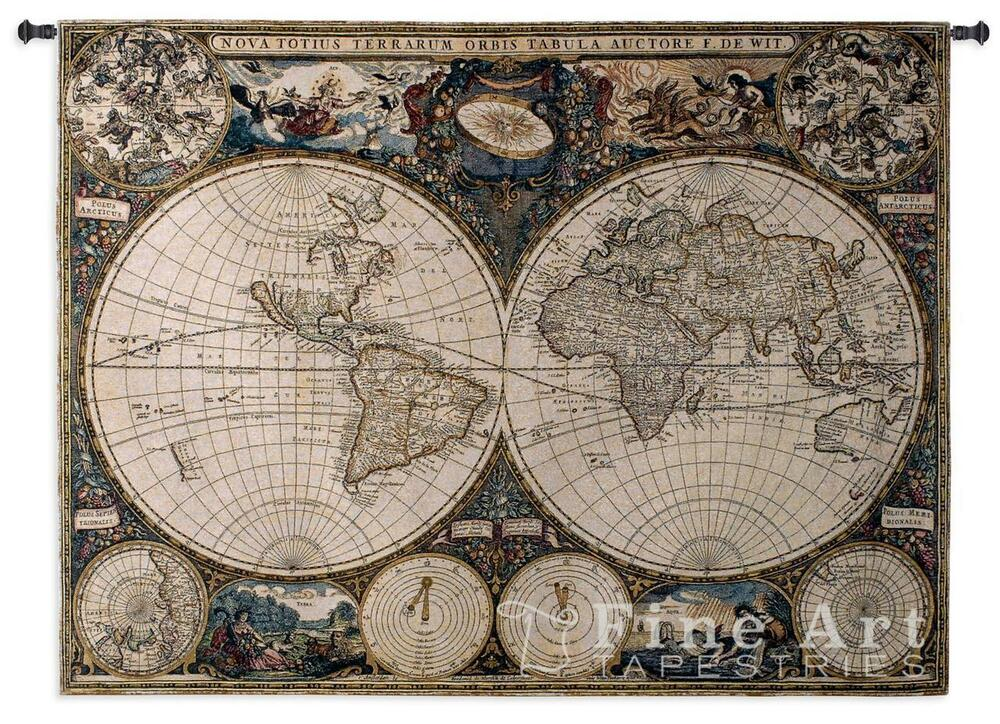 53x38 OLD WORLD MAP Globe Geography Tapestry Wall Hanging | eBay