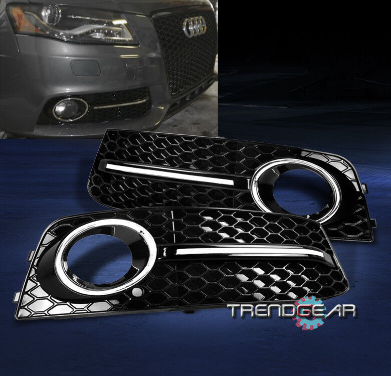 2009 2012 audi a4 b8 bumper fog light lamp grille cover. Black Bedroom Furniture Sets. Home Design Ideas