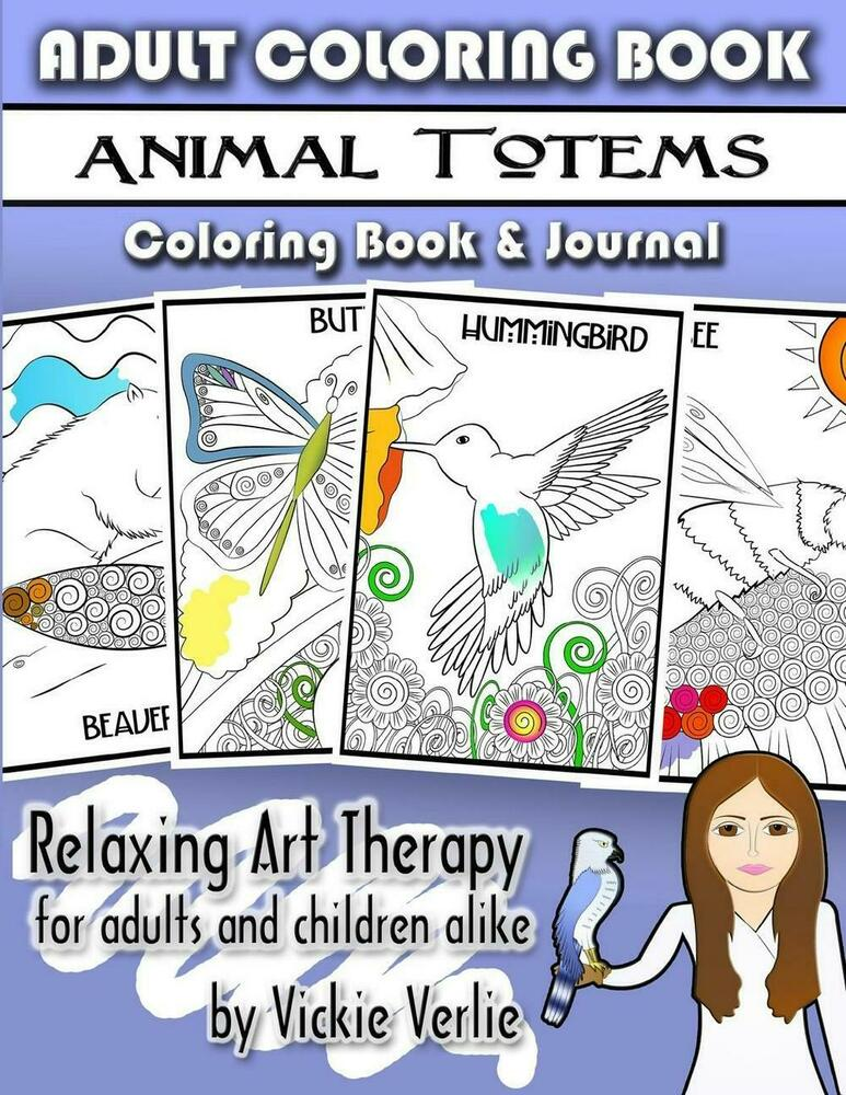Adult Coloring Book Animal Totems Relaxing Art Therapy