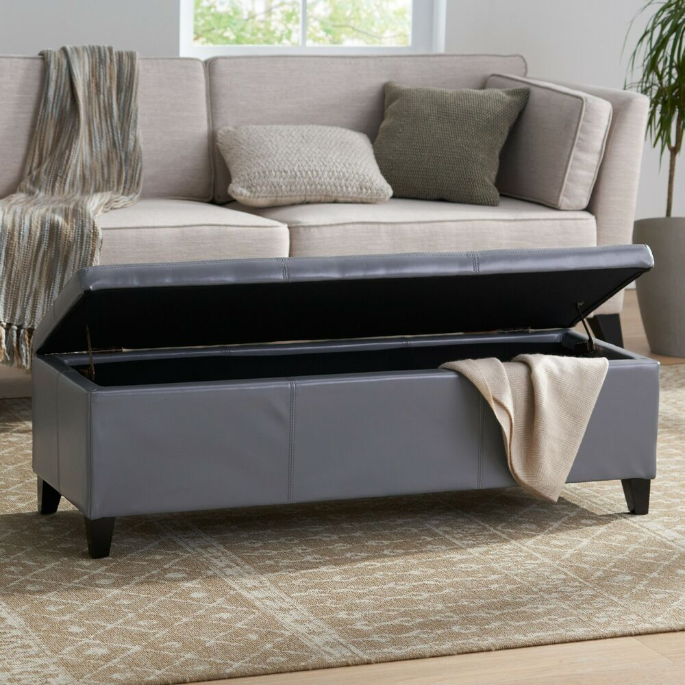 Contemporary grey leather storage ottoman bench ebay Gray storage bench