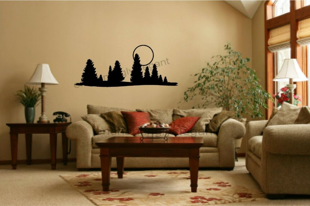 trees moon vinyl decal wall stickers office living room decor cer rv mural ebay