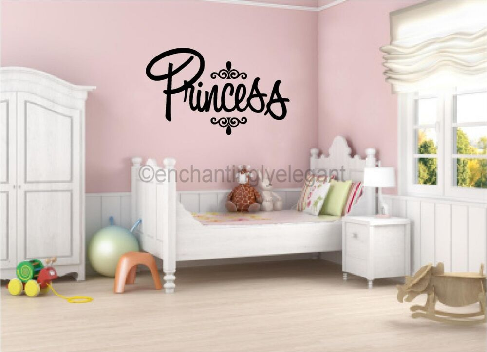 Princess vinyl decal wall sticker words lettering nursery for Baby room decoration letters