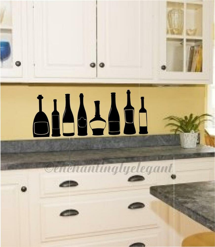 Wine bottles kitchen decor vinyl decal wall sticker ebay for Kitchen picture decor