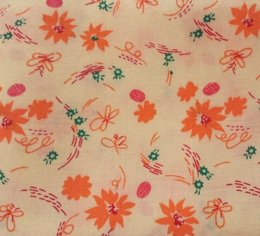 33 Quot Orange On Yellow Floral Print Fabric Pre Washed Poly