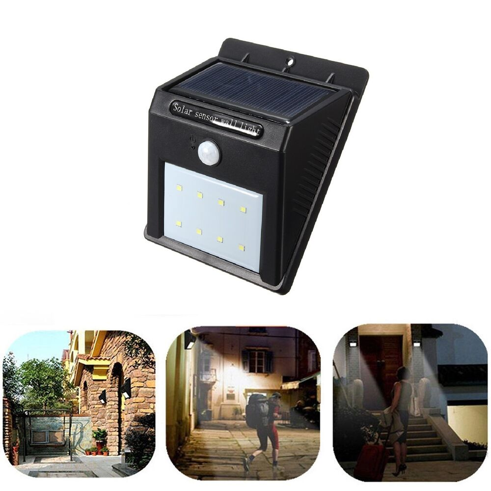 led solar power pir motion sensor wall light outdoor waterproof garden