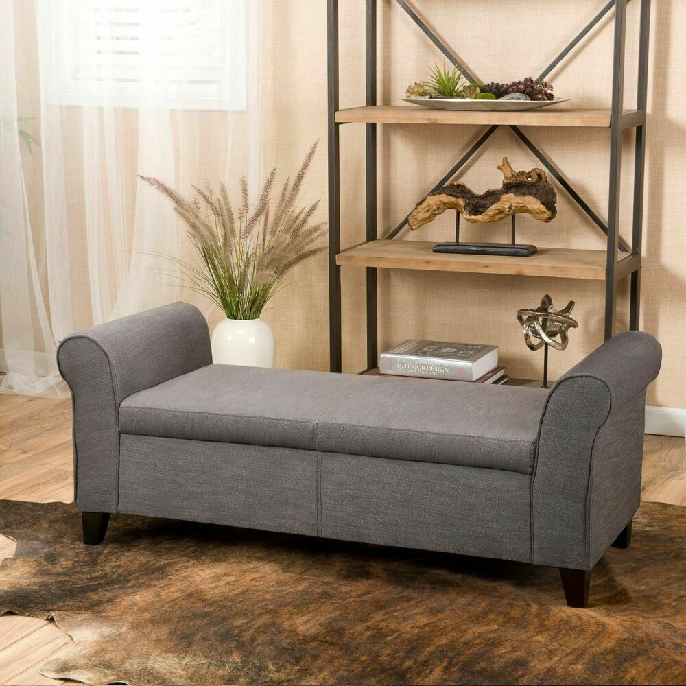 Contemporary Grey Fabric Armed Storage Ottoman Bench Ebay