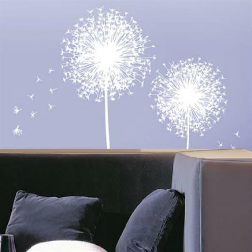 removable white dandelion flower wall decals art mural wall stickers home decor ebay. Black Bedroom Furniture Sets. Home Design Ideas