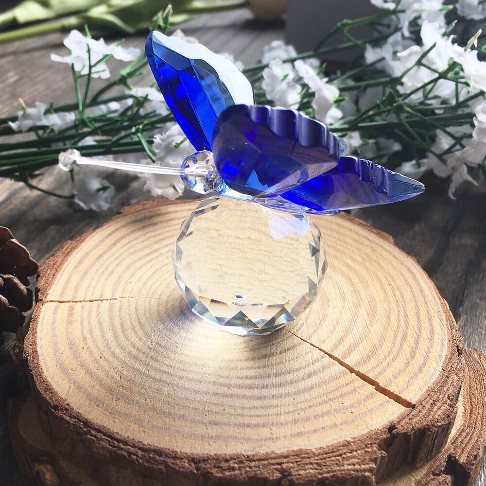 TOP Blue Crystal Butterfly Figurine Paperweight Wedding Favor Collectibles Gifts
