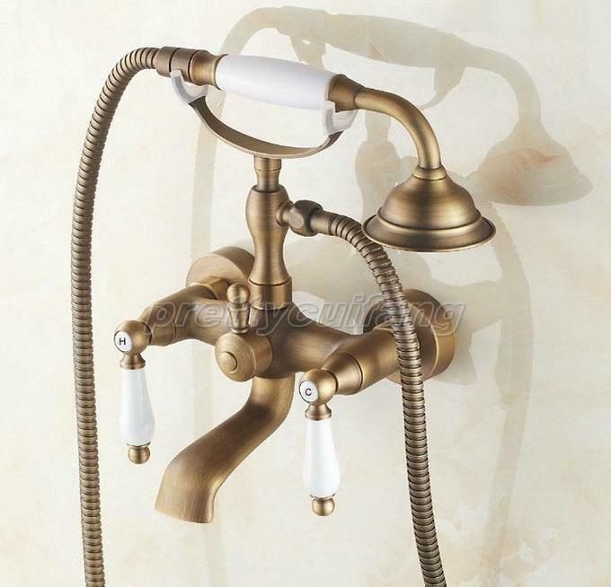 Retro Antique Brass Bathroom Clawfoot Bath Tub Faucet Hand Shower Ptf152 EBay