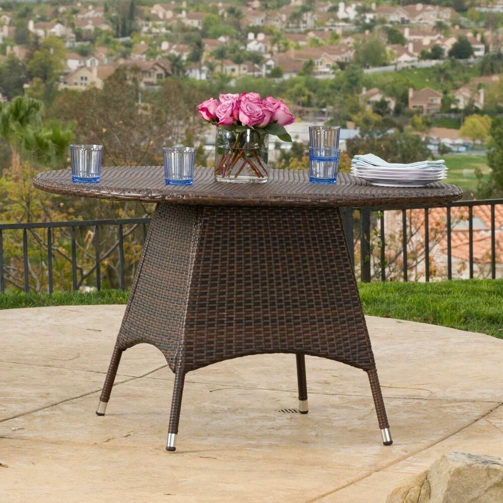 Outdoor brown wicker round dining table ebay for Outdoor patio dining
