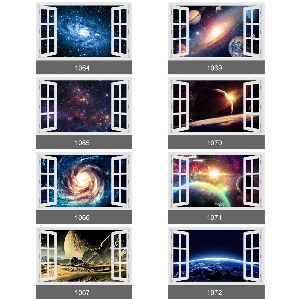 3d Window Space Universe Galaxy Planets Stars Wall