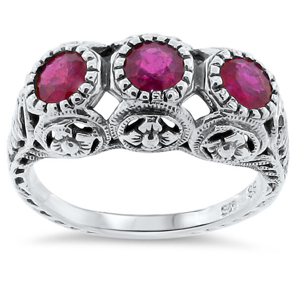 Ruby Stone With Silver Ring