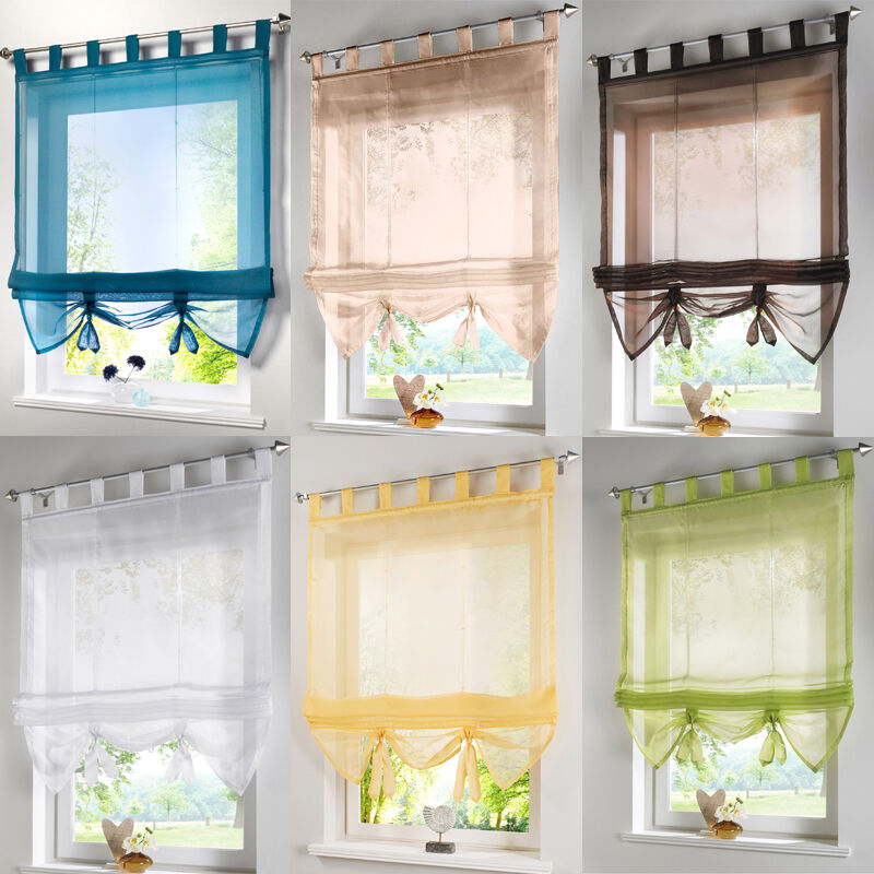 Tab Top Voile Roman Blinds Liftable Curtain Kitchen