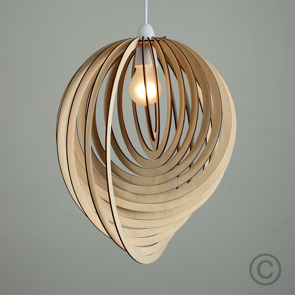 Modern wooden ceiling lights : Modern wooden droplet ceiling pendant light shade lounge