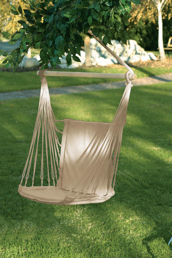 White Cotton Padded Swing Hammock Hanging Outdoor Chair