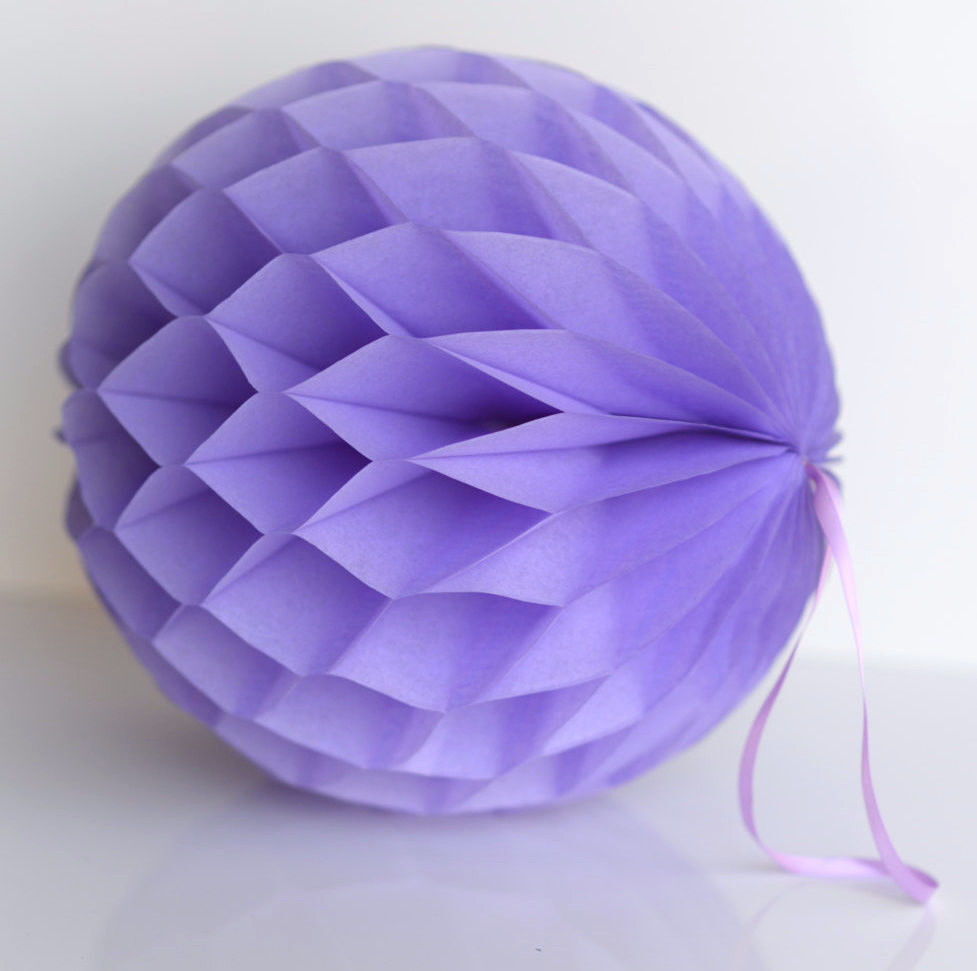 Lavender paper honeycomb balls hanging party decorations wedding decor ebay - Hanging paper balls decorations ...
