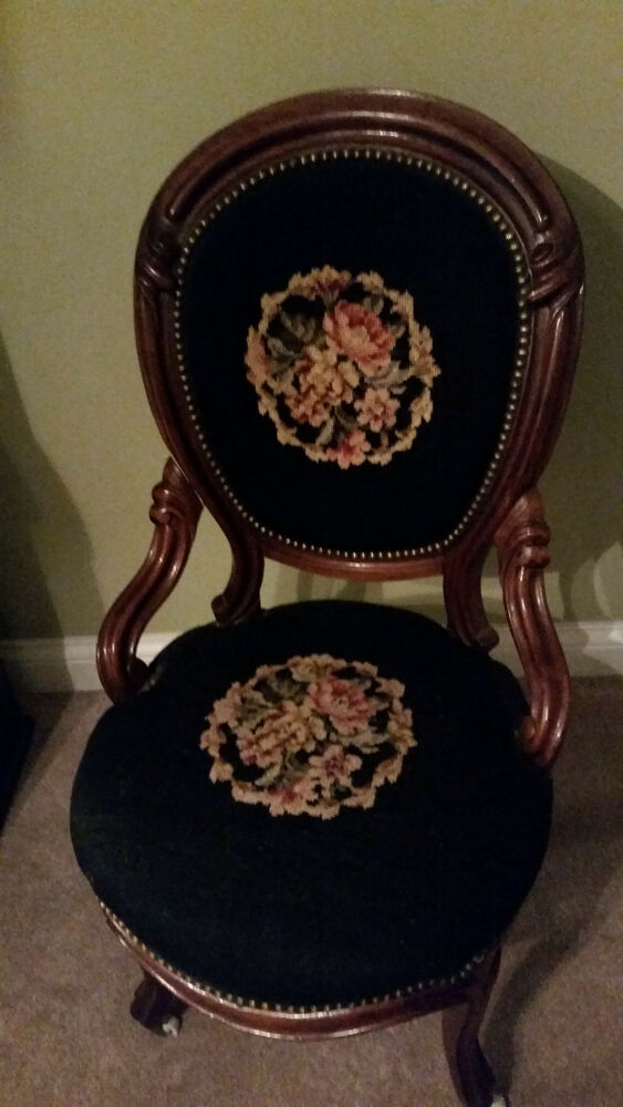 Antique Needlepoint Carved Wood Floral Design Parlor Chair