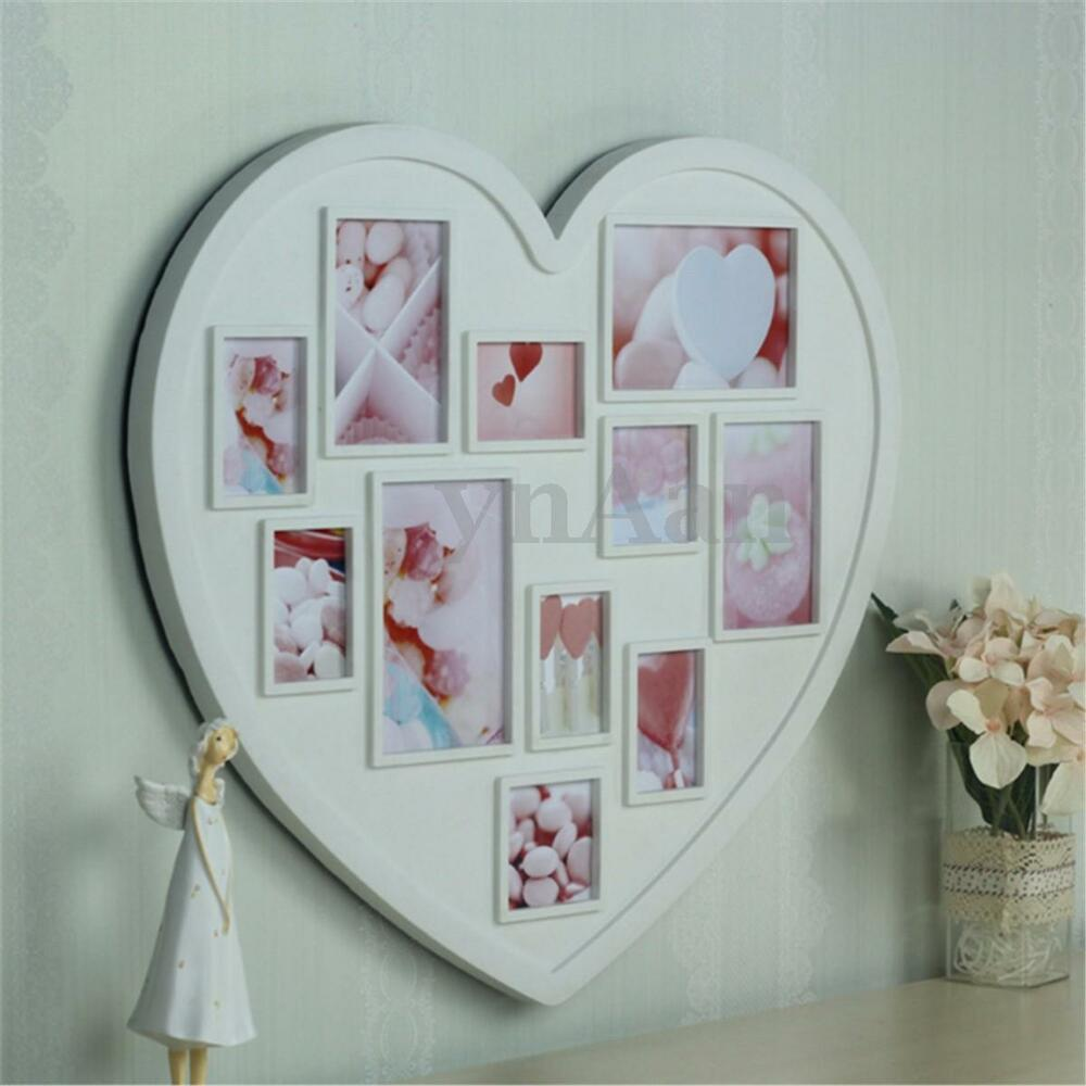11 pictures heart shape multi collage photo frame wall