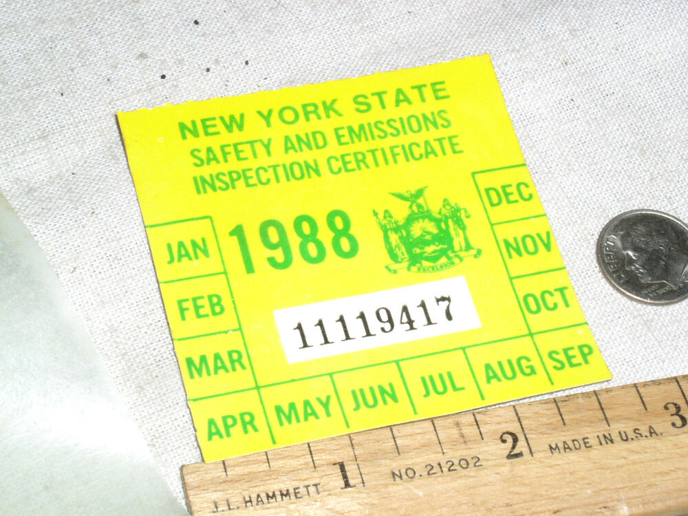 1 vintage nos 1988 ny n y s new york state car auto safety inspection sticker ebay. Black Bedroom Furniture Sets. Home Design Ideas