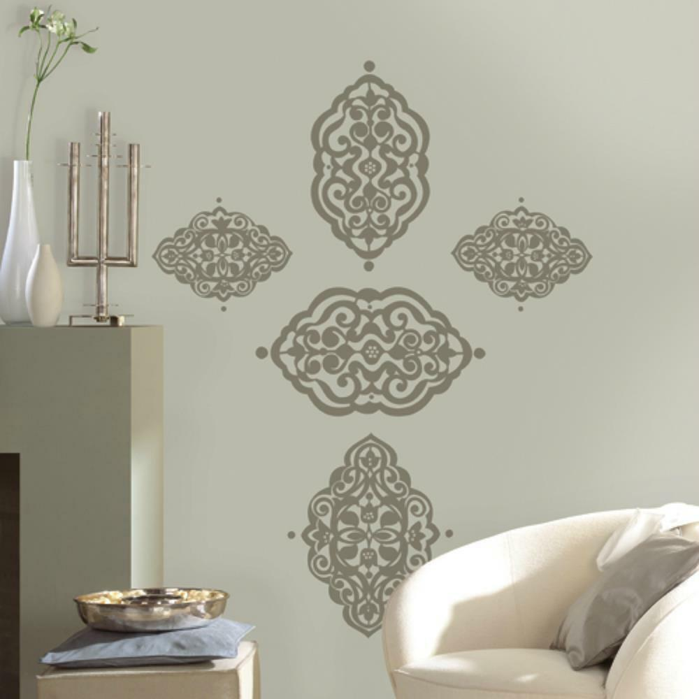 Moroccan diamante classic damask ornamental geometric decor wall decal sticker ebay - Wall decoration design ...