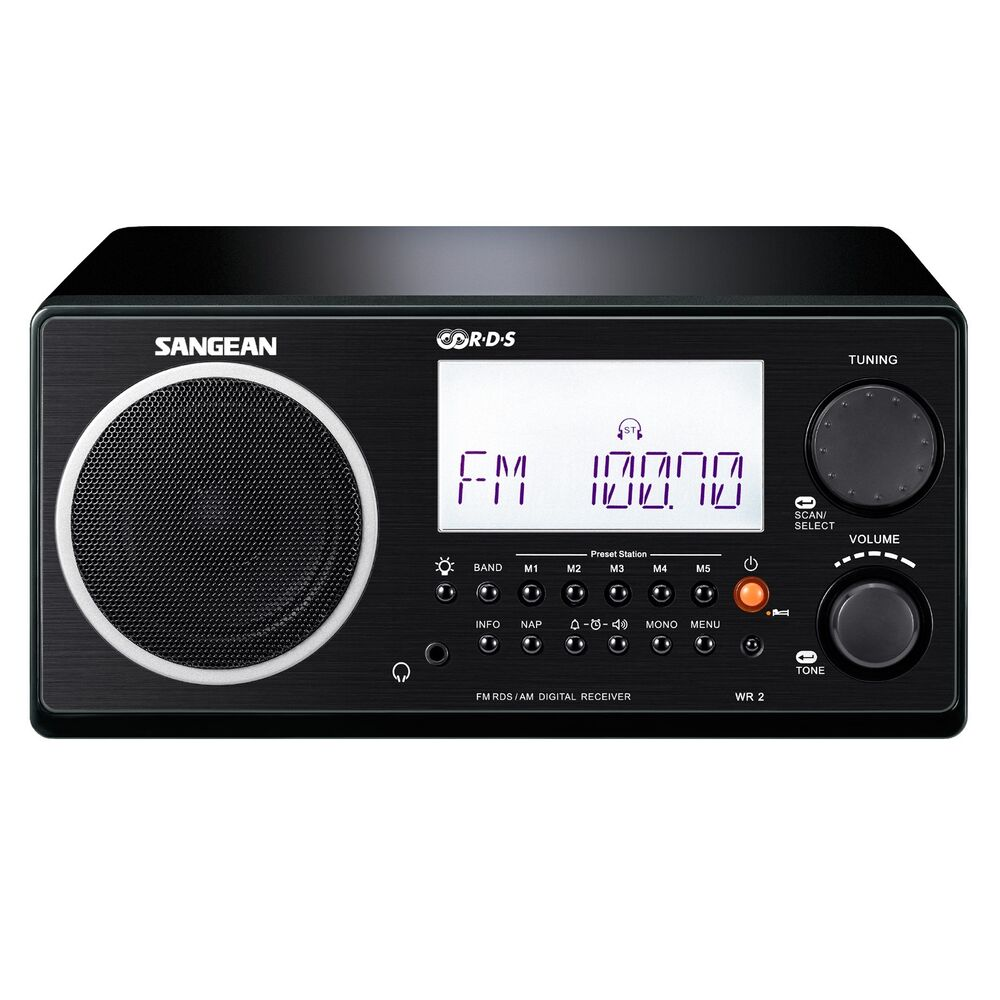 sangean am fm rds digital tuning clock alarm multi function remote black wr 2bk ebay. Black Bedroom Furniture Sets. Home Design Ideas